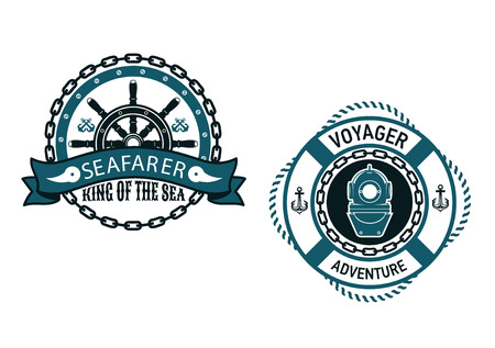 circular chain: Nautical themed emblems and symbols with Seafarer, King of the Sea with a ships wheel in a circular chain frame and for Voyager Adventure, with a vintage diving helmet inside a life buoy