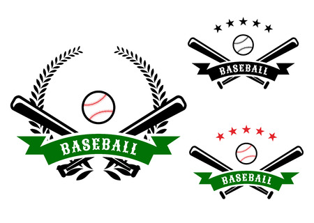 Baseball emblems or badges with crossed bats and a ball behind a ribbon banner containing the word Baseball on with a laurel wreath