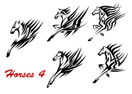 Black and white galloping horses icons or tattoos with flowing stylized manes, side view of front legs and head Illustration