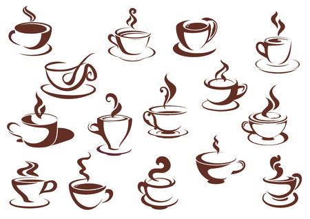 Doodle bộ phác thảo màu nâu và trắng bốc khói nóng đồ uống cà phê và trà trong các loại cốc