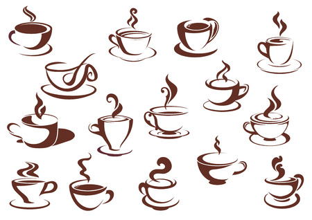 Doodle sketch set in brown and white of steaming hot beverages of coffee and tea in assorted cups
