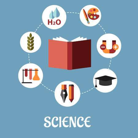 sciences: Education and science flat design with a vector illustration of a book surrounded by round icons depicting writing, chemistry, biology, water, life sciences, art, physics and graduation on a blue background