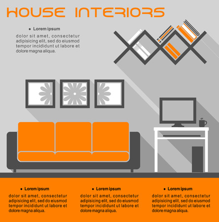 room for text: House interior infographic vector template in orange and grey showing a living room with a sofa, tv, wall shelves and table with space for text