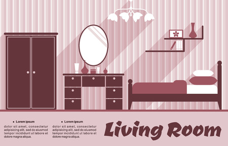 domestic room: Living room flat interior in pink and red colours for infographic or apartment design