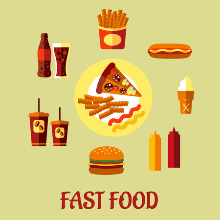 food and beverage: Fast Food poster with a central plate of pizza and French fries surrounded by a cheeseburger, coffee, soda, potato chips, hot dog, ice cream cone and condiments, vector cartoon, illustration Illustration