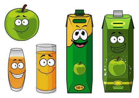 manzana caricatura: Feliz manzana de la historieta sano fresco verde con jugo de manzana en dos vasos diferentes y dos cajas de cart�n, la ilustraci�n vectorial aislado en blanco