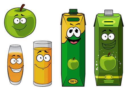 apple character: Fresh healthy green happy cartoon apple with apple juice in two different glasses and two cardboard cartons, vector illustration isolated on white