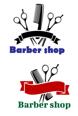 Barber Shop signs with blank ribbon banners for text over scissors and combs, vector illustration isolated on white