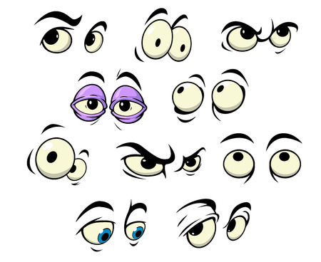 occhi tristi: Gli occhi del fumetto con espressioni diverse che cercano in diverse direzioni per essere utilizzati come elementi di design, illustrazione vettoriale isolato su bianco Vettoriali