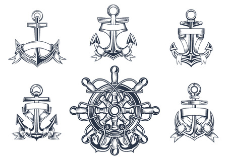 Vintage marine and nautical icons with ships anchors with blank entwined ribbon banners and a ships wheel with anchors Vector