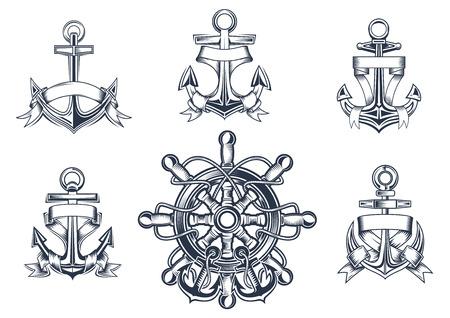 ancre marine: Vintage marine et ic�nes nautiques avec ancres des navires avec vierges enlac�s ruban banni�res et un navires roue avec ancrages Illustration