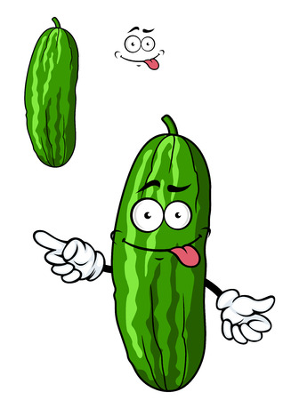 gherkin: Green cartoon cucumber vegetable character with a goofy smile, vector illustration isolated on white