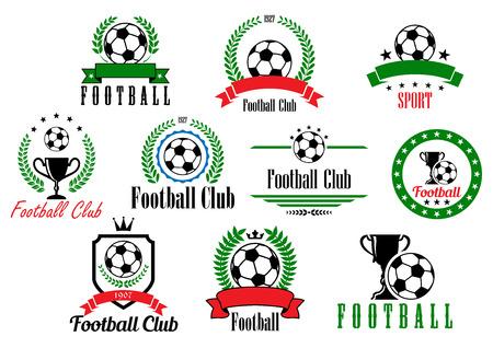 voetbal silhouet: Set van voetbalclub badges en emblemen met verschillende tekst in kransen en frames versierd met voetbal of voetballen, trofeeën en lint banners, vector illustratie geïsoleerd op wit Stock Illustratie