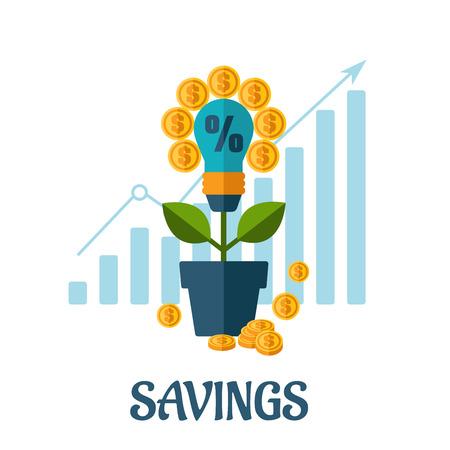 Growing money flat concept design with light blulb, golden coins, business chart ant text Savings below Vector