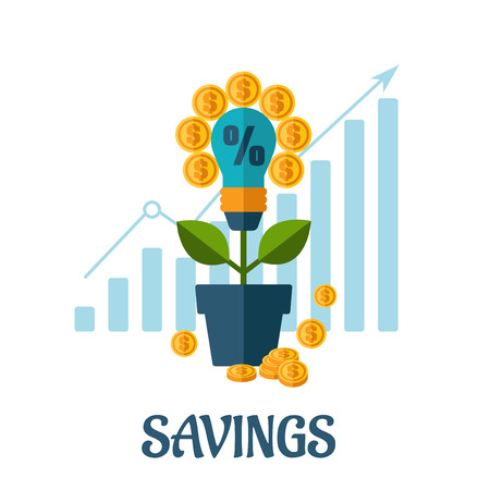 growing money: Growing money flat concept design with light blulb, golden coins, business chart ant text Savings below Illustration