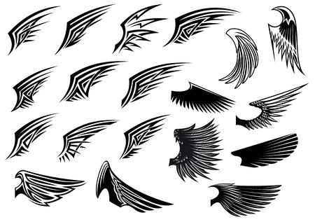 tatouage ange: Vecteur noir et blanc stylis� ailes d'oiseaux h�raldiques montrant une seule aile avec des d�tails de la plume