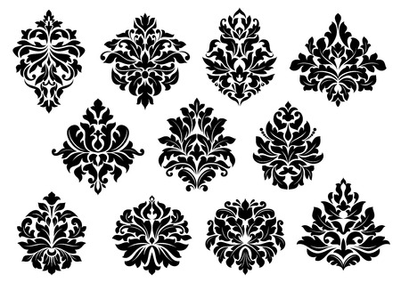foliate: Set of black and white vector silhouette floral and foliate arabesque motifs suitable for damask style interior decor design elements