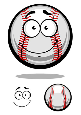 Smiling cartoon baseball ball with red stitching and googly eyes with a second plain variant with separate smile element, vector illustration isolated on white