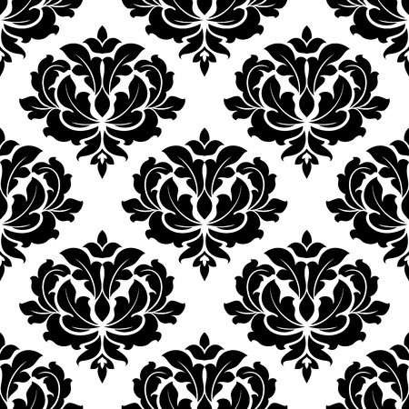 foliate: Black and white arabesque seamless pattern with a big bold foliate motif in square format suitable for wallpaper or damask style fabric design