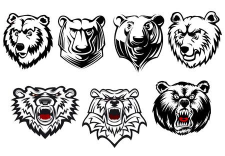 oso negro: Cabezas de oso de vectores en blanco y negro con diferentes formas de cabeza y expresiones, con tres gruñendo ferozmente con lenguas rojas. Para la mascota o la caza de diseño