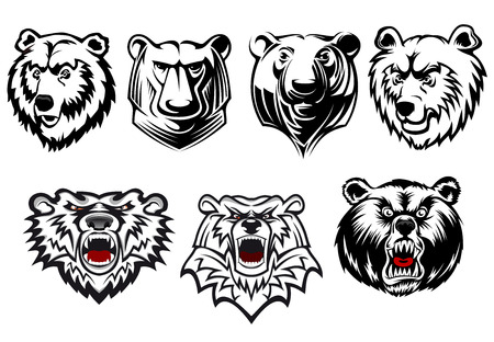 Black and white vector bear heads with different head shapes and expressions, with three snarling ferociously with red tongues. For mascot or hunting design