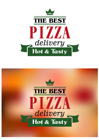 Pizza delivery banner or label isolated on white and blurred background for fast food or restaurant design Vector
