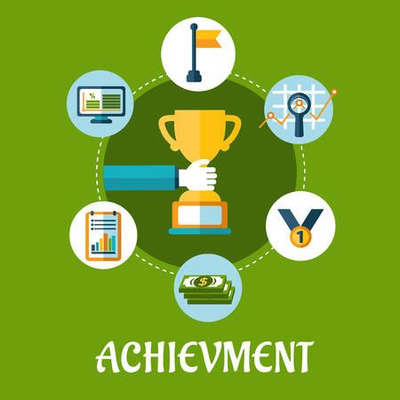 achievement concept: Business, achievment and success flat icons for conceptual design or infographics