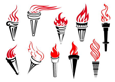 Vintage flaming torches set isolated on white background for peace, success, sports and power concept design