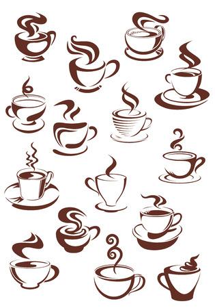 Steaming coffee cups set with capuccino, espresso, mocha, latte, americano and macchiato isolated on white background