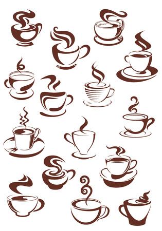 Steaming coffee cups set with capuccino, espresso, mocha, latte, americano and macchiato isolated on white background