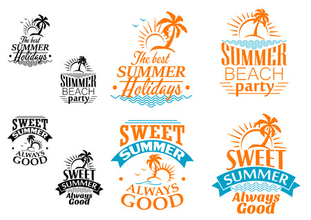 Summer vacation labels or banners with beach, ocean waves, palms, sun and text