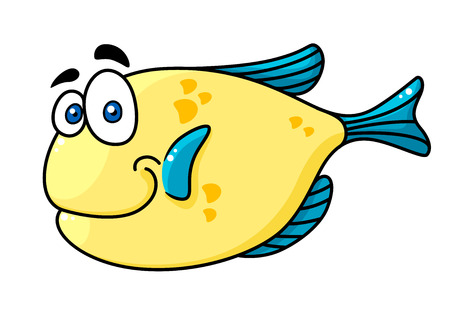 Cartooned yellow and blue smiling fish character with big eyes isolated on white background for fairytale design