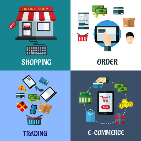 Business and shopping flat concepts with online shop, trading, e-commcerce and order icons