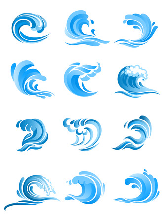fresh water splash: Blue curly sea and ocean surf waves set isolated on white background. For icon, symbol or emblem design
