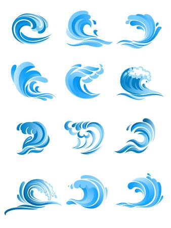 olas de mar: Mar y del mar de surf olas rizadas azules conjunto aislado sobre fondo blanco. Para icono, s�mbolo o emblema de dise�o