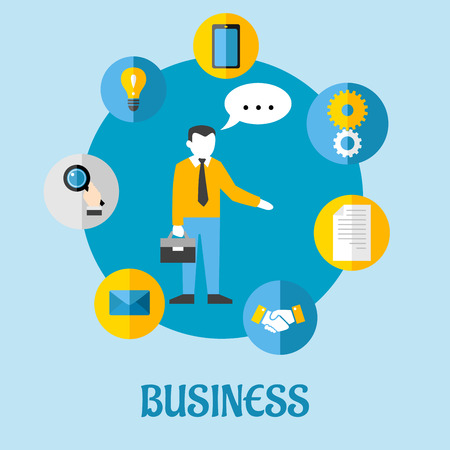 Business flat concept design with blue, white and yellow icons of bulb, tablet, gears, paper, handshake, letter, businessman and magnifying glass Vector