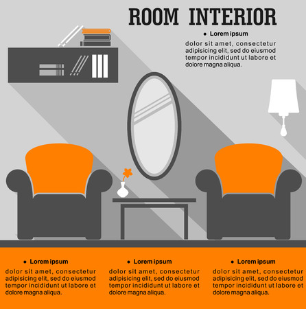 interior design home: Living room interior in flat style with furniture and decorative elements for home design