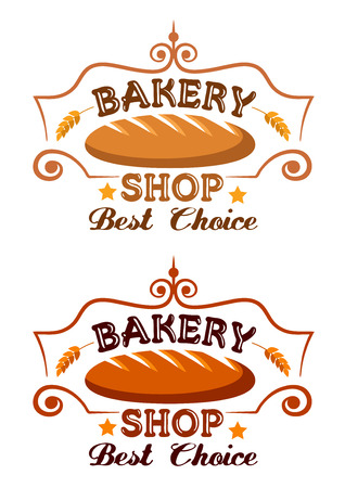 baton: Bakery shop label with buster baton, cereal ears and text