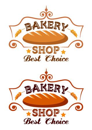 estafette stokje: Bakkerij winkel label met buster stokje, graansoort oren en tekst