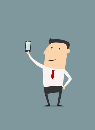 cartoon face: Businessman posing and making selfie shot. Cartoon vector illustration Illustration