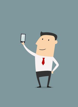 Homme d'affaires posant et faisant Selfie tir. Vecteur illustration de bande dessinée Illustration