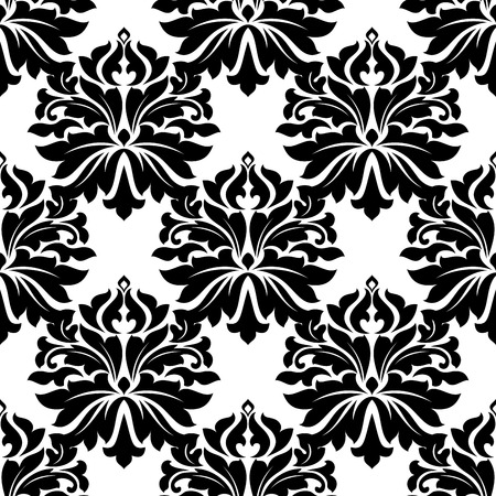 dainty: Black classic damask floral seamless pattern with dainty flowers on white background Illustration