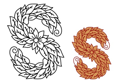 foliate: Floral and foliate font uppercase letter S with flowers and leaves in two color variants, vector illustration Illustration
