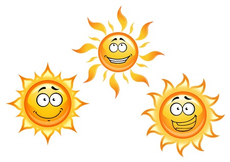funny travel: Cartoon sun characters with funny faces for summer vacation, travel or another design Illustration