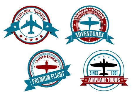 sellos: Aeroplano y aventuras insignias, logotipos o etiquetas aisladas sobre fondo blanco. Para el dise�o de la aviaci�n y los viajes