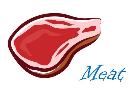 Close-up cartooned vlees biefstuk op een witte achtergrond voor de culinaire of food design