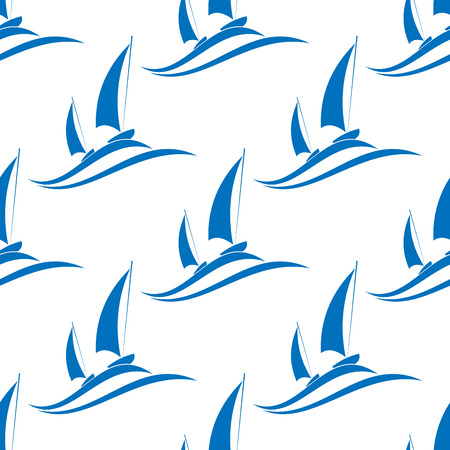 regatta: Yachting seamless pattern with blue boats on sea waves for background design Illustration
