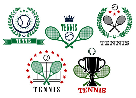backhand: Assorted tennis tournament symbols with ball, crossed rackets, laurel wreath, crown and cup isolated on white background Illustration