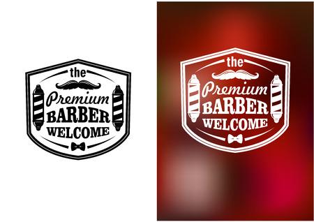 barbero: Barber�a Vintage dise�o de la bandera de bienvenida en blanco y rojo fondo borroso