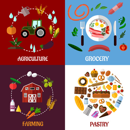 Creative food products concept flat infographics design with  agriculture, farm, grocery and pastry products Illustration